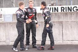 Pole winner Helio Castroneves, Team Penske, second place Ryan Briscoe, Team Penske, third place Will Power, Team Penske