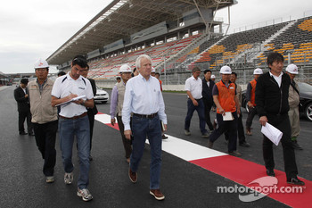 Charlie Whiting during his inspection of the Korean International Circuit in 2010