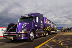 The Crown Royal hauler pulls into the track