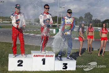 Rally Catalunya karting race: winner Sébastien Loeb, second place Daniel Sordo, third place Jari-Matti Latvala