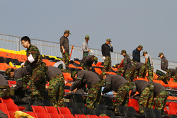 Army working on the grandstands