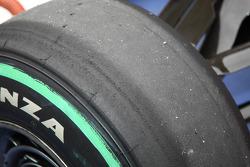 The Bridgestone tyre on the Ferrari