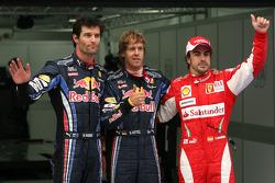 Pole winner Sebastian Vettel, Red Bull Racing, second place Mark Webber, Red Bull Racing, third place Fernando Alonso, Scuderia Ferrari