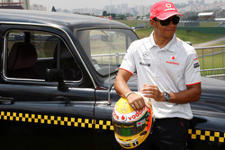 Lewis Hamilton, McLaren Mercedes with a London taxi