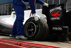 The car of Kamui Kobayashi, BMW Sauber F1 Team is returned to the pits
