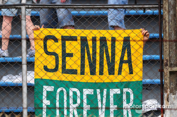 A banner in the crowd for Senna