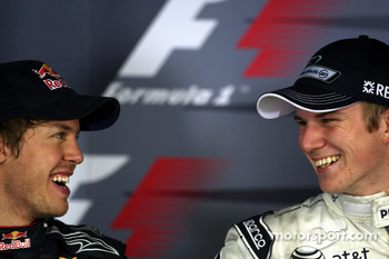 Press conference: pole winner Nico Hulkenberg, Williams F1 Team, with second place Sebastian Vettel, Red Bull Racing