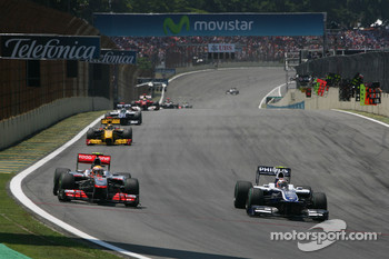 Lewis Hamilton, McLaren Mercedes and Nico Hulkenberg, Williams F1 Team