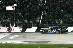 Denny Hamlin, Joe Gibbs Racing Toyota takes the checkered flag