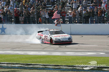 NASCAR Nationwide Series 2010 champion Brad Keselowski celebrates