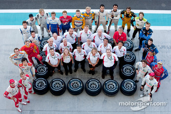 The Bridgestone team and GP2 drivers pose for a team photo