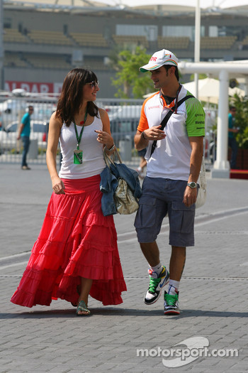 Vitantonio Liuzzi, Force India F1 test driver, with his girlfriend Francesca Caldarell