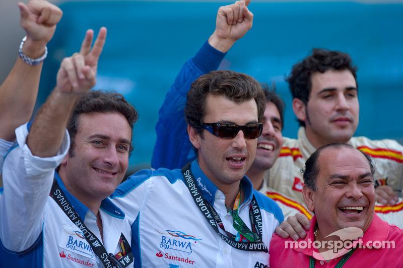 The Barwa Addax Team celebrate Sergio Perez feature race victory