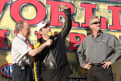 Greg Anderson celebrates his winning of the Full Throttle Energy Drink Pro Stock 2010 Championship