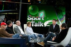 Niki Lauda, consultant David Coulthard, chief technical officer Adrian Newey, Sebastian Vettel, anchorman Andreas Groebl and Gerhard Berger