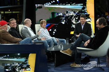 Niki Lauda, consultant David Coulthard, chief technical officer Adrian Newey, Sebastian Vettel, anchorman Andreas Groebl and Gerhard Berger