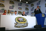 Championship contenders pre-race press conference: Jimmie Johnson, Hendrick Motorsports Chevrolet, Denny Hamlin, Joe Gibbs Racing Toyota and Kevin Harvick, Richard Childress Racing Chevrolet