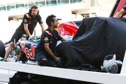 Sebastian Vettel, Red Bull Racing has yet another problem with his rear left tire