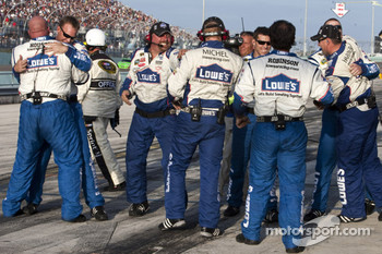 Hendrick Motorsports Chevrolet team members celebrate the 2010 NASCAR Sprint Cup championship of Jimmie Johnson