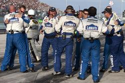 Hendrick Motorsports Chevrolet team members celebrate the 2010 NASCAR Sprint Cup championship of Jimmie Johnson