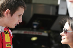Oliver Jarvis, Audi Sport Team Abt Audi A4 DTM is speaking with his Girlfriend