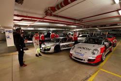 Audi R8 and Porsche 911 cars