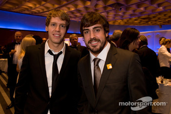 Formula One World Champion Sebastian Vettel, Red Bull and Fernando Alonso, Ferrari