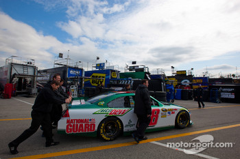 Car of Dale Earnhardt Jr., Hendrick Motorsports Chevrolet pushed to technical inspection