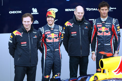 Christian Horner, Red Bull Racing, Sporting Director with Sebastian Vettel, Red Bull Racing, Adrian Newey, Red Bull Racing, Technical Operations Director and Mark Webber, Red Bull Racing