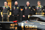 Robert Kubica, Lotus Renault GP, Gerard Lopez, Lotus Renault GP owner, Eric Boullier, Team Principal, Lotus Renault GP and Vitaly Petrov, Renault F1 Team