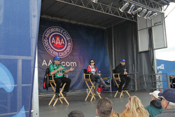 John Force (left) Ashley Force Hood (center) Robert Hight (right) during Auto Club fan meeting