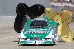 John Force deploys his parachutes on his Castrol GTX High-Mileage Ford Mustang GTX
