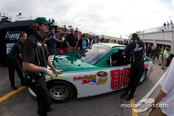 The backup car of Dale Earnhardt Jr., Hendrick Motorsports Chevrolet is taken out of the hauler after a crash