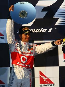 Podium: second place Lewis Hamilton, McLaren Mercedes