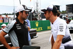 Sergio Perez, Sahara Force India F1 with Jenson Button, McLaren on the drivers parade