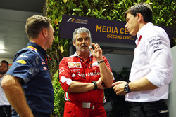 (L to R): Christian Horner, Red Bull Racing Team Principal with Maurizio Arrivabene, Ferrari Team Principal and Toto Wolff, Mercedes AMG F1 Shareholder and Executive Director
