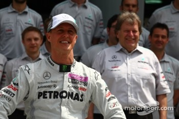 Michael Schumacher, Mercedes GP F1 Team and Norbert Haug, Mercedes, Motorsport chief