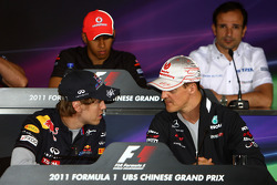 Sebastian Vettel, Red Bull Racing and Michael Schumacher, Mercedes GP