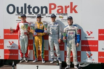 Podium from left: Lucas Foresti, Felipe Nasr, Menasheh Idafar and national class winner Bart Hylkema