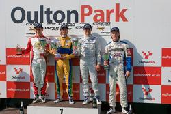 Podium from left: Lucas Foresti, Felipe Nasr, Menasheh Idafar and national class winner Bart Hylkema