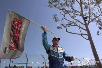 Pole winner Paul Tracy celebrates