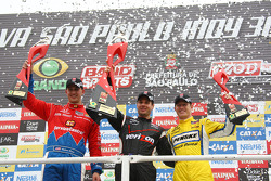 Podium: winner Will Power, Team Penske, second place Graham Rahal, Chip Ganassi Racing, third place Ryan Briscoe, Team Penske