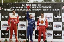 Victory podium:Justin Wilson, A.J. Allmendinger and Sébastien Bourdais