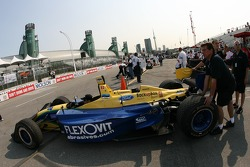 The car of Tonis Kasemets is pushed onto pitlane