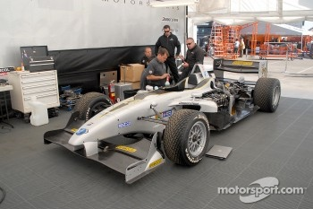 Pacific Coast Motorsports team works on Ryan Dalziel's car