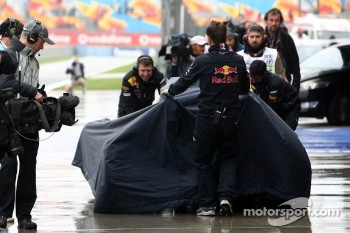 The crashed car of Sebastian Vettel, Red Bull Racing