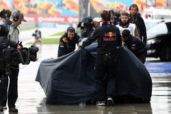 The crashed car of Sebastian Vettel, Red Bull Racing
