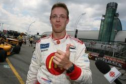 Provisional pole winner Sébastien Bourdais celebrates