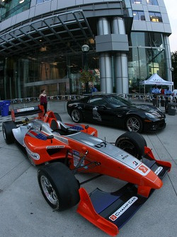 Street party: a Champ Car on display