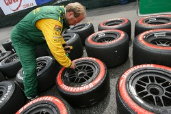 Team Australia team member prepares the slick and rain tires